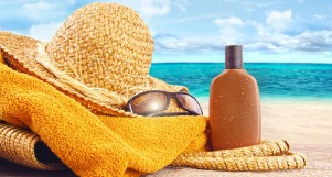 Sunscreen, sunhat and sunglasses