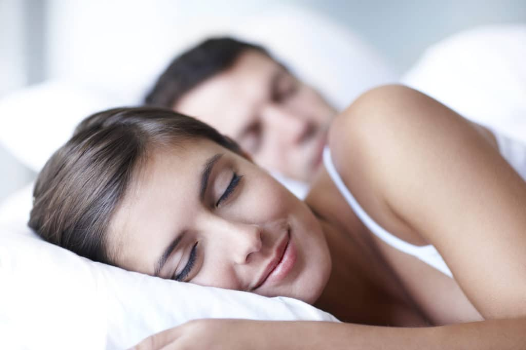 Happy female sleeping